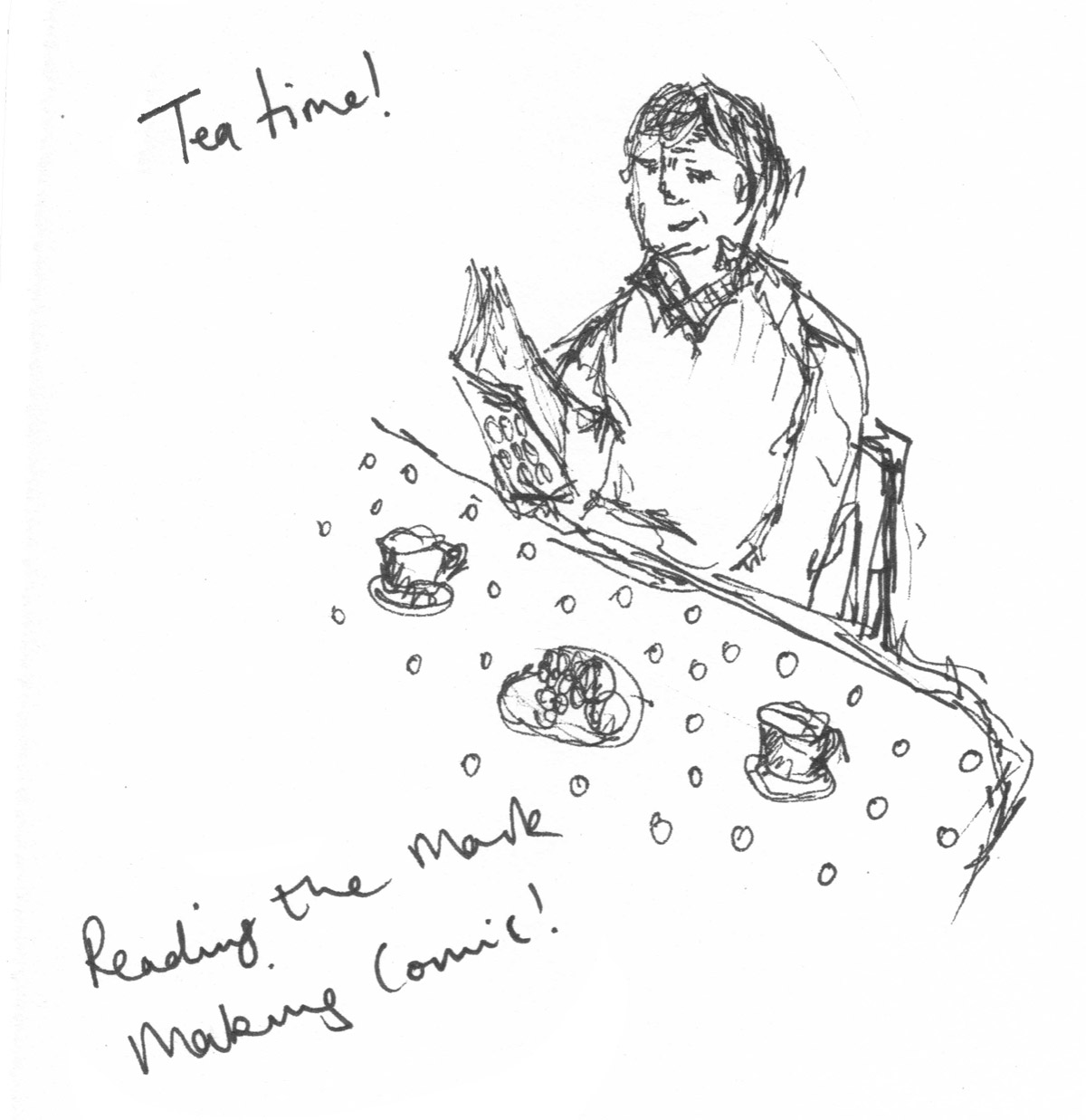 14.-Ann-reading-the-Mark-Making-Comic-at-tea-time